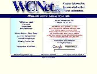 Main page screenshot of wcnet.org