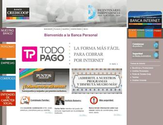 Main page screenshot of bancocredicoop.coop