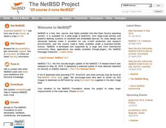 Main page screenshot of netbsd.org
