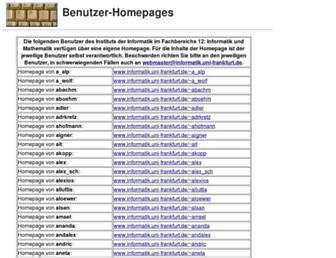 Main page screenshot of www-stud.informatik.uni-frankfurt.de