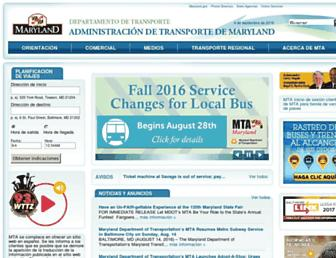 Main page screenshot of es.mta.maryland.gov