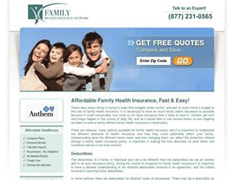 Main page screenshot of familyhealthinsurance.net