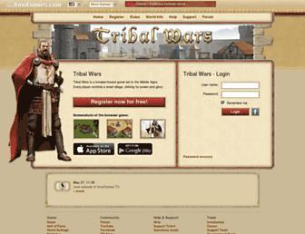 Main page screenshot of tribalwars.us