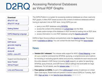 Main page screenshot of d2rq.org