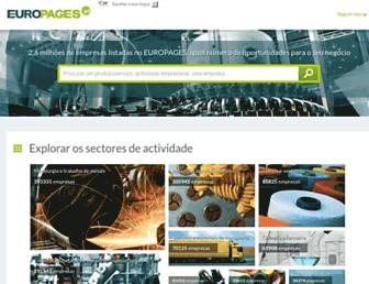 Main page screenshot of europages.pt