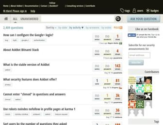 Main page screenshot of askbot.org