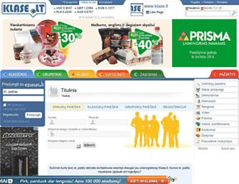Main page screenshot of klase.lt