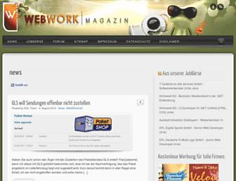 Main page screenshot of webwork-magazin.net