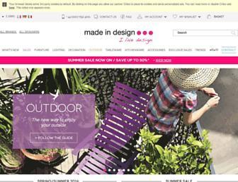 Main page screenshot of madeindesign.co.uk