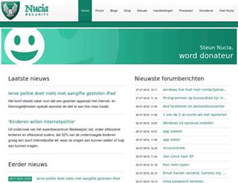Main page screenshot of nucia.eu
