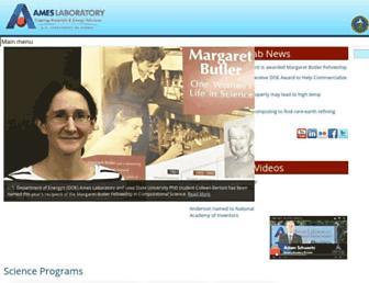 Main page screenshot of ameslab.gov