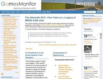 Main page screenshot of gamesmonitor.org.uk