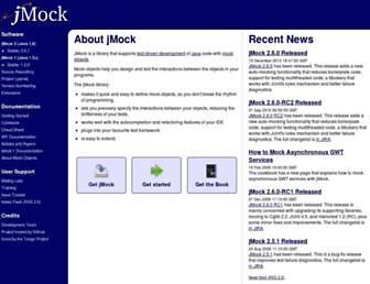 Main page screenshot of jmock.org