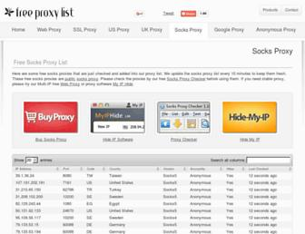 socks-proxy.net screenshot