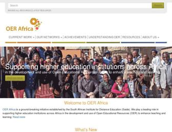 Main page screenshot of oerafrica.org