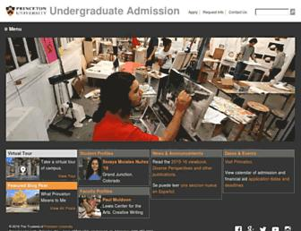admission.princeton.edu screenshot