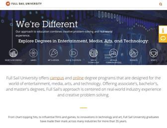 Main page screenshot of fullsail.edu