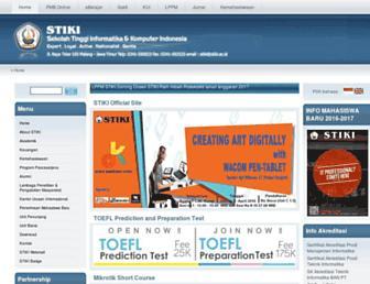 Main page screenshot of stiki.ac.id
