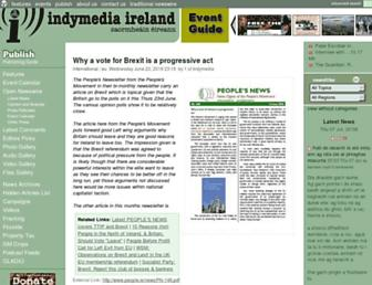 Main page screenshot of indymedia.ie