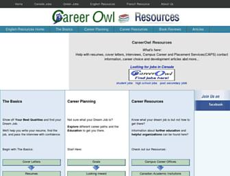 Main page screenshot of careerowlresources.ca