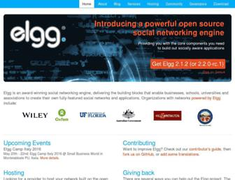 Main page screenshot of elgg.org