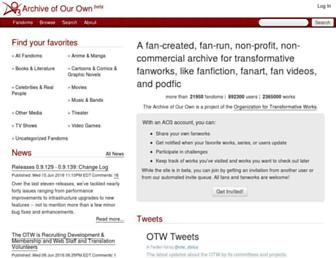 Main page screenshot of archiveofourown.org