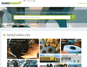 Main page screenshot of europages.lt