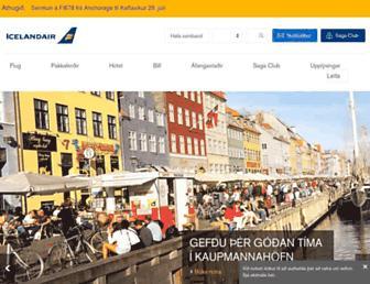 Main page screenshot of icelandair.is