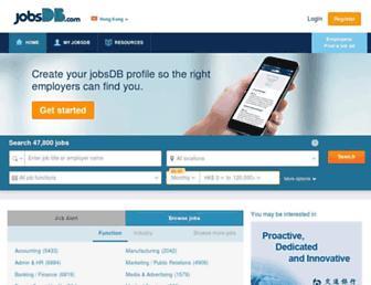 Main page screenshot of jobsdb.com.hk