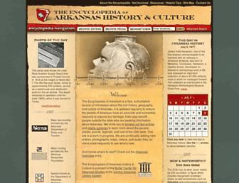 Main page screenshot of encyclopediaofarkansas.net