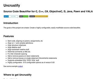 uncrustify.sourceforge.net screenshot