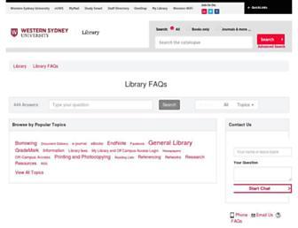 answers.library.westernsydney.edu.au screenshot