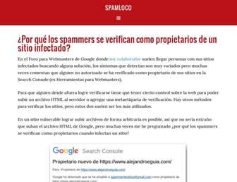 Main page screenshot of spamloco.net