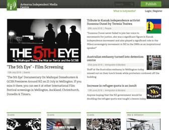 Main page screenshot of indymedia.org.nz