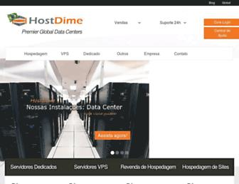Main page screenshot of hostdime.com.br