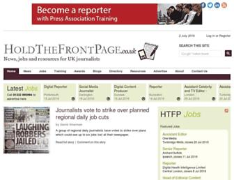 Main page screenshot of holdthefrontpage.co.uk