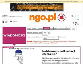 Main page screenshot of wiadomosci.ngo.pl