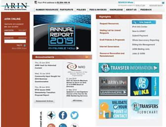 Main page screenshot of arin.net