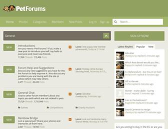 Main page screenshot of petforums.co.uk