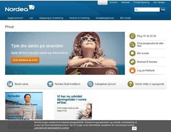 Main page screenshot of nordea.dk