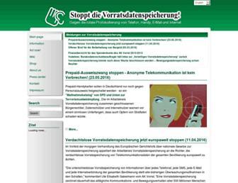 Main page screenshot of vorratsdatenspeicherung.de