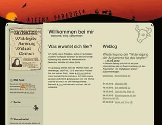 Main page screenshot of jeenaparadies.net