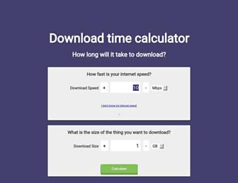 downloadtimecalculator.com screenshot
