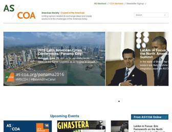 Main page screenshot of as-coa.org