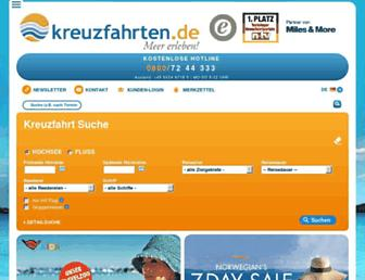 Main page screenshot of kreuzfahrten.de