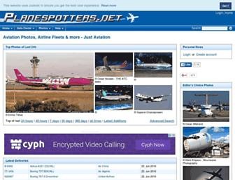 Main page screenshot of planespotters.net