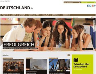 Main page screenshot of deutschland.de