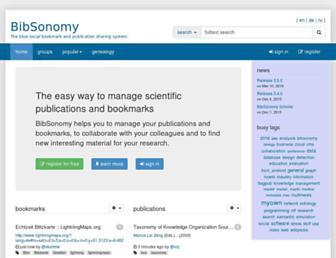 Main page screenshot of bibsonomy.org