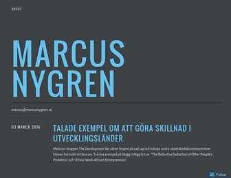Main page screenshot of marcusnygren.se