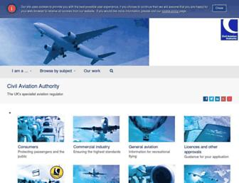 Main page screenshot of caa.co.uk